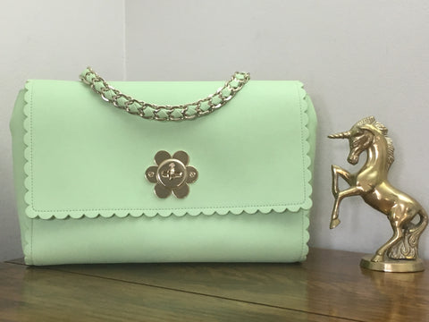 Mulberry Medium Cecily Flower in Mint Green Classic Calf