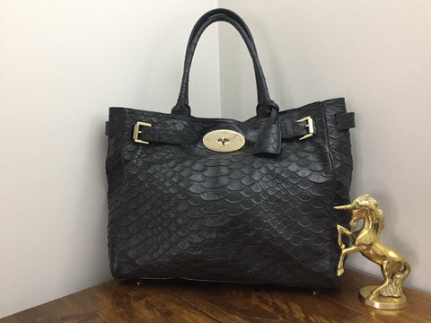 e65e2acdda4 Sold Out Mulberry Bayswater Tote in Black Large Silky Snake Print Leather