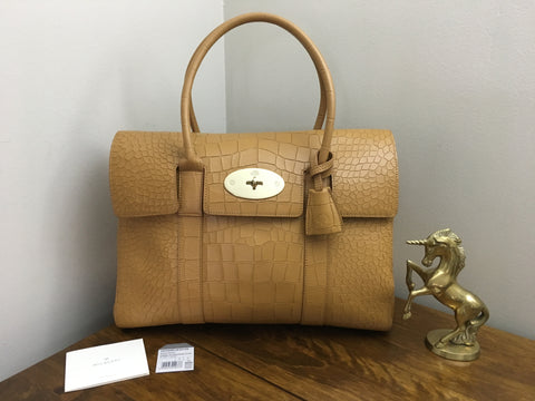 Mulberry Heritage Bayswater in Camel Deep Embossed Croc with Gold Hardware