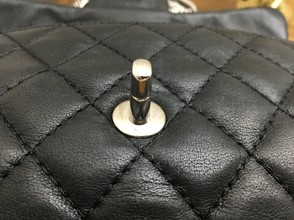 Chanel Black Washed Lambskin Quilted East West Flap with Silver Bijoux Chain