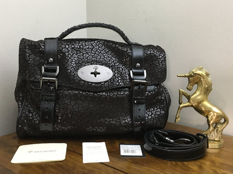 6b220ea8c3 Sale Sold Out Mulberry Regular Alexa in Black Mini Patent Leopard with Gunmetal  Hardware - As New