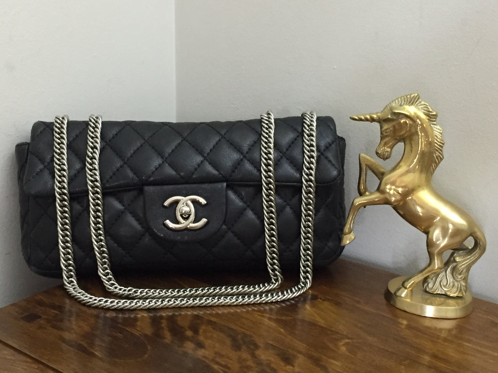 11559a84b20 Chanel Black Washed Lambskin Quilted East West Flap with Silver Bijoux Chain