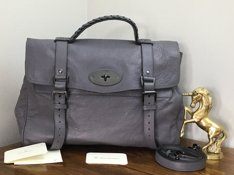 b95a97c72b Sale Sold Out Mulberry Oversized Alexa in Foggy Grey Glossy Buffalo Leather  with Gunmetal Hardware