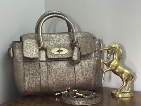 11fdfefeb3ae Sale Sold Out Mulberry Mini Bayswater Buckle in Metallic Mushroom