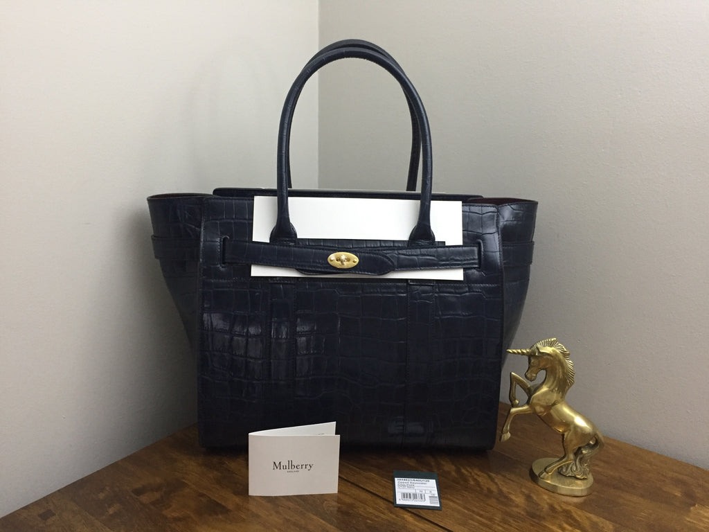 036e5897912 Sold Out Brand New Mulberry Navy Croc Print Zipped Bayswater