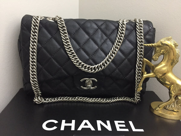 Chanel Black Quilted Washed Lambskin Jumbo Flap with Silver Bijoux Chain