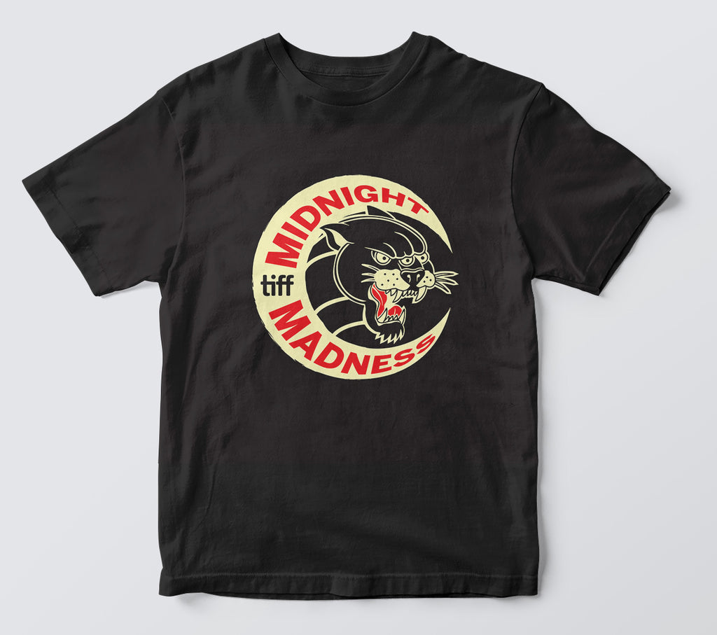 Midnight Madness three-eyed panther moon design on a black tshirt