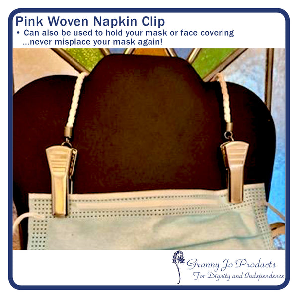 Pink/White Braid Napkin Clip