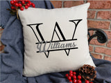 Split Engraved Letter Family Name Pillow