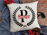 Personalized Name Pillow - Split Block Font with Leaves Frame