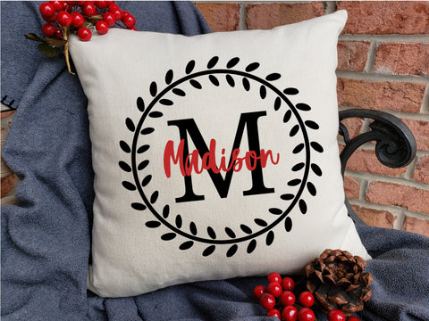 Personalized Name Pillow - Vine Monogram Letter with Name - Full Leaf Frame