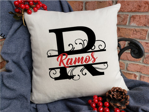 Personalized Name Pillow - Split Fancy Roman Font