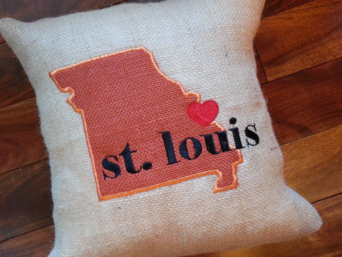 Custom Burlap Hometown Pillow