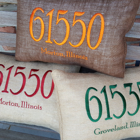 Embroidered Zip Code Burlap Pillow