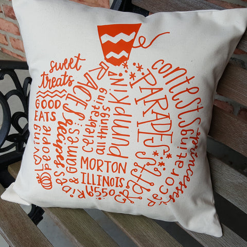 Morton Pumpkin Word Art Pillow
