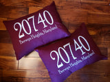 Embroidered Zip Code Cotton Pillow