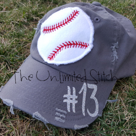 Big Baseball Ball Distressed Hat