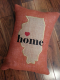 Burlap State Home Pillow