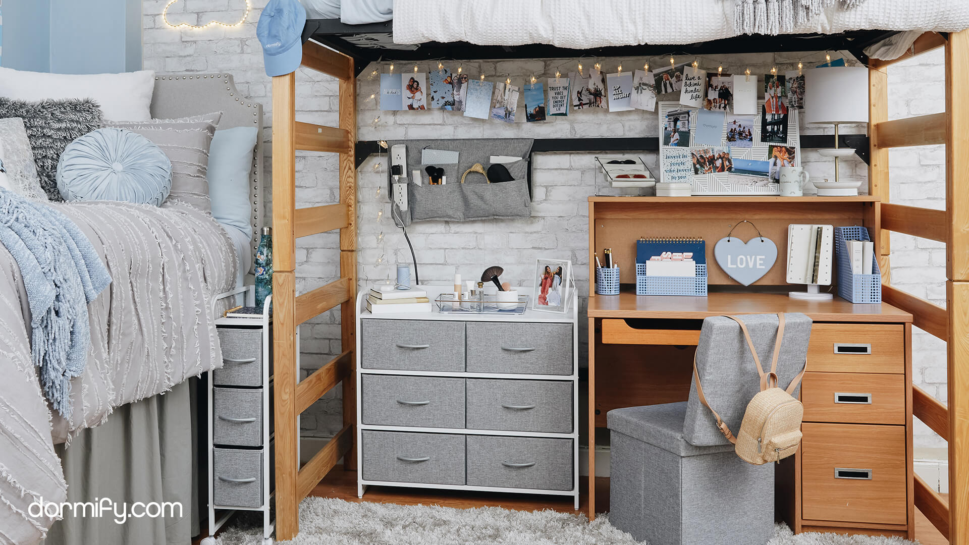 Bedroom with desk and desk accessories to create a study space at home