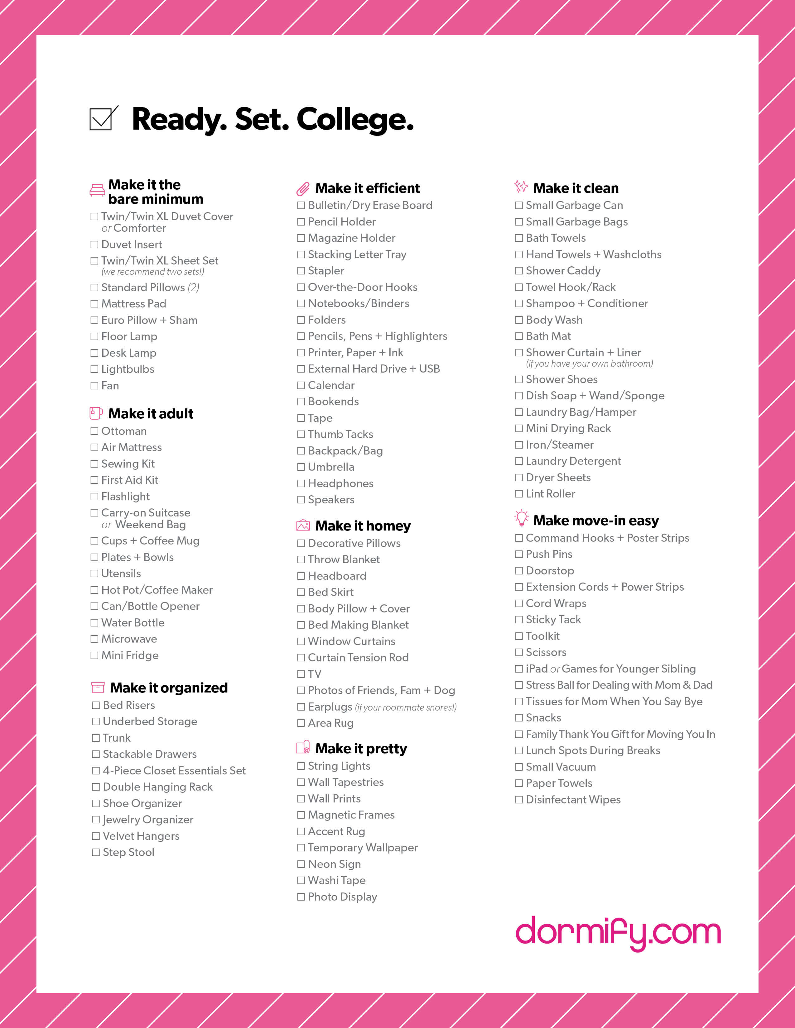 College Dorm Apartment Checklist Dormify