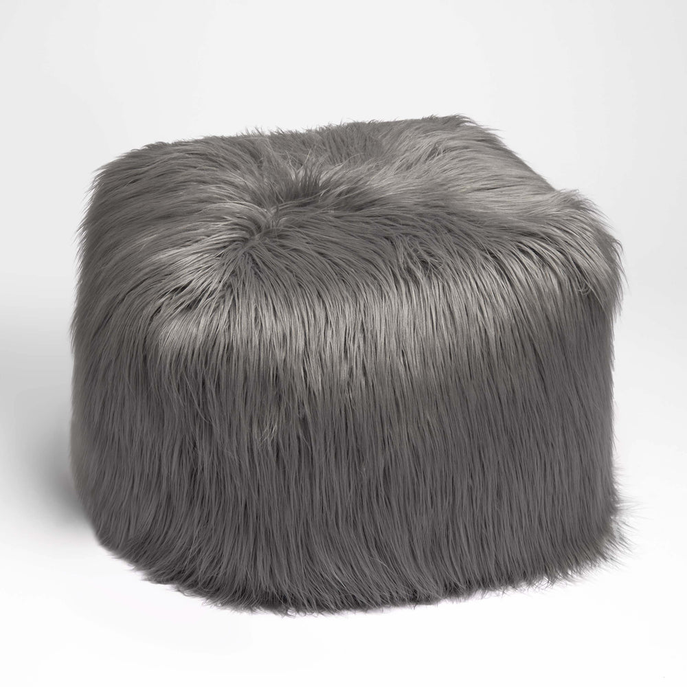 Brilliant Faux Mongolian Pouf Grey Andrewgaddart Wooden Chair Designs For Living Room Andrewgaddartcom