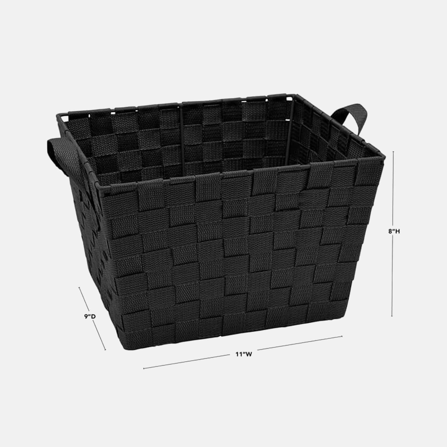 Medium Woven Storage Bin - Set of 2 - Black