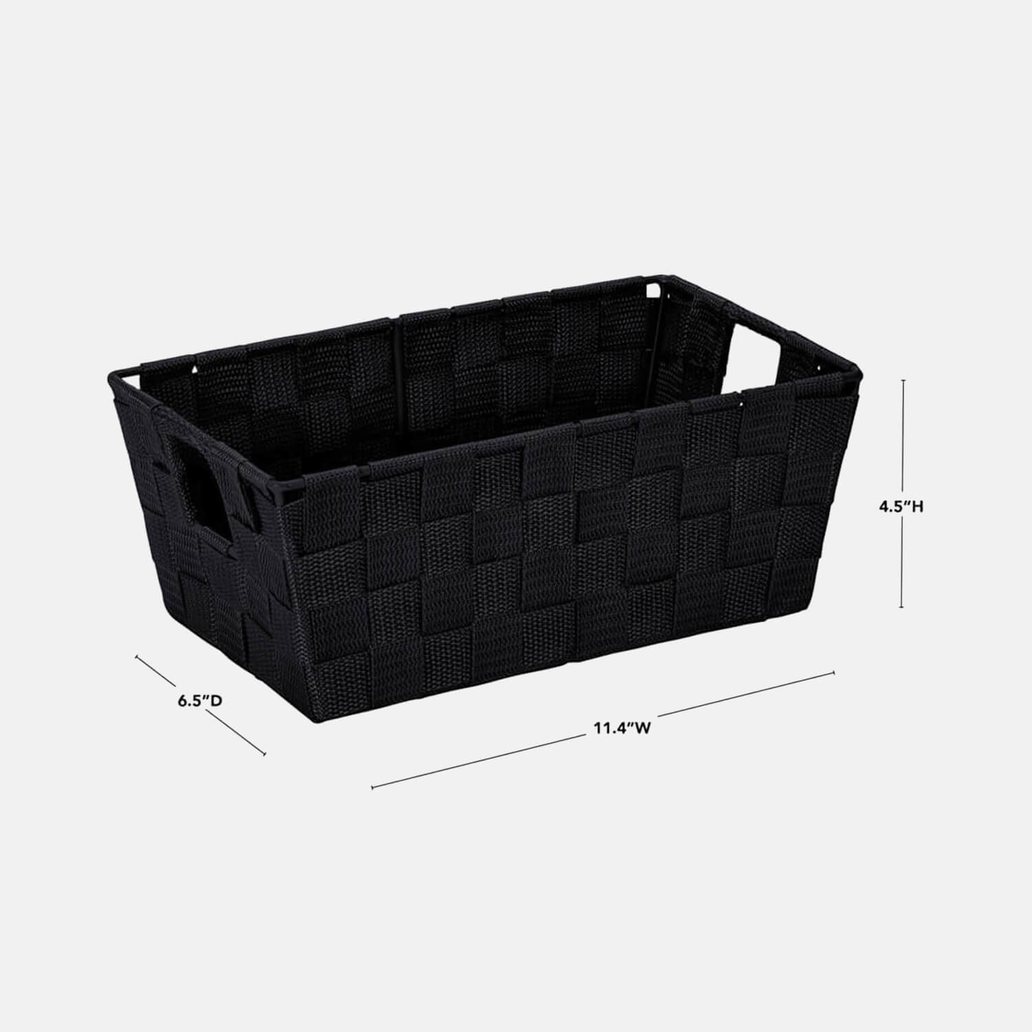 Small Woven Storage Shelf Bin - Set of 2 - Black