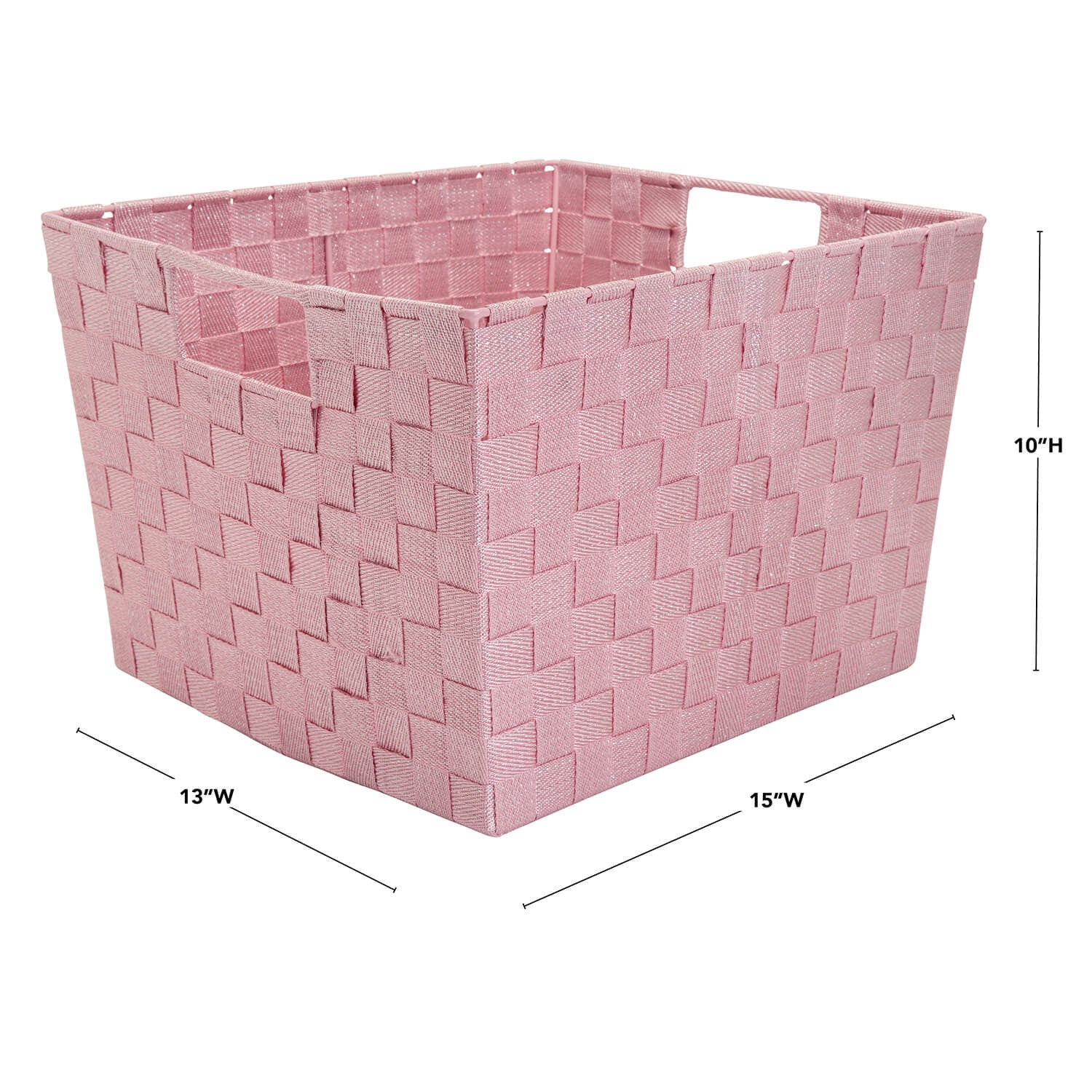 Large Lurex Woven Storage Bin - Light Purple