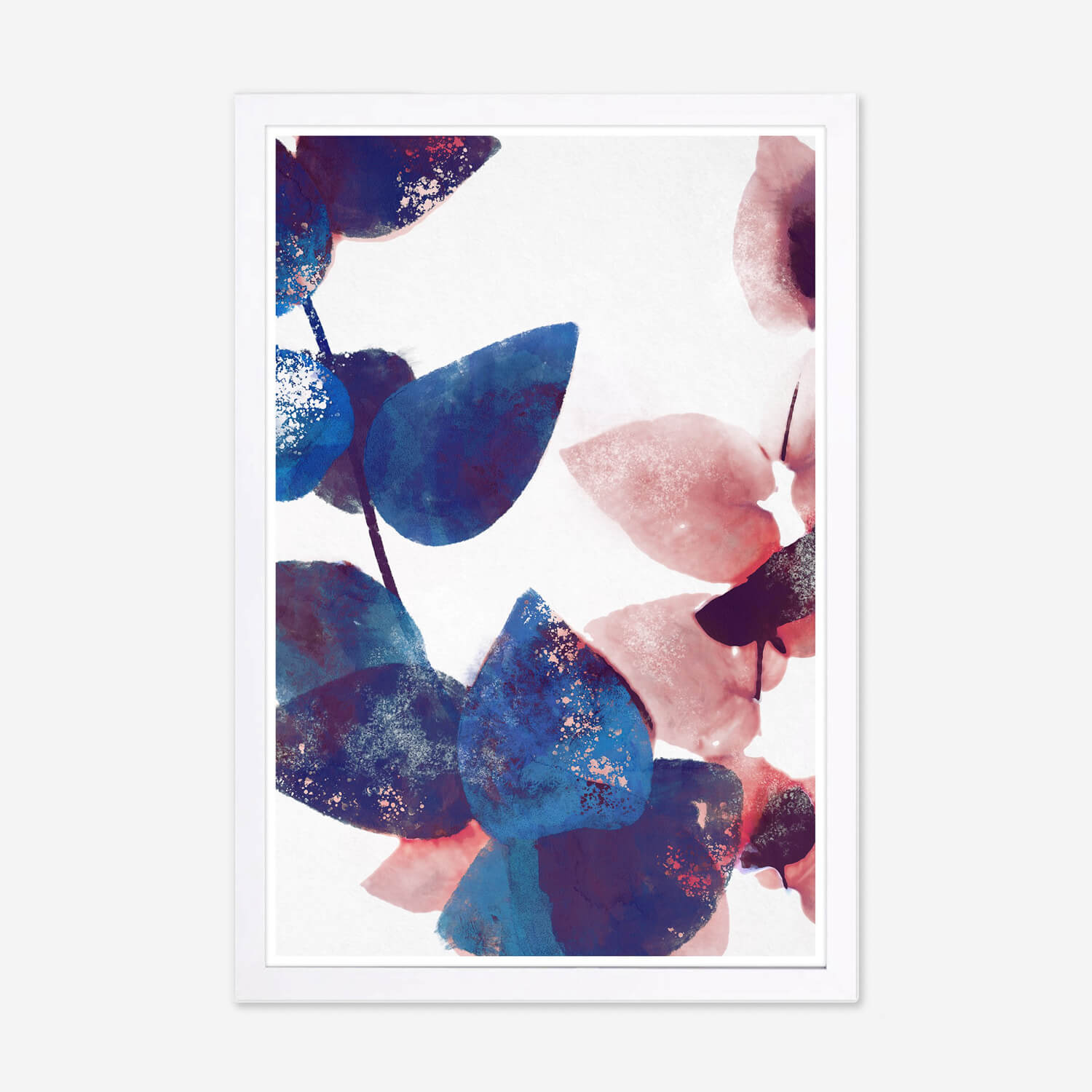 pink and blue leaves framed art | wall