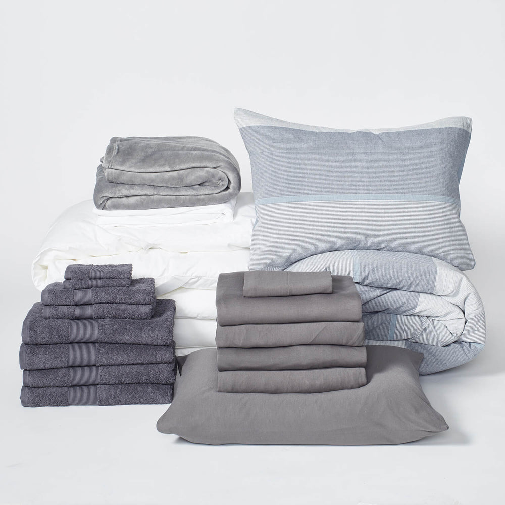 college dorm bundle set with sheets and towels