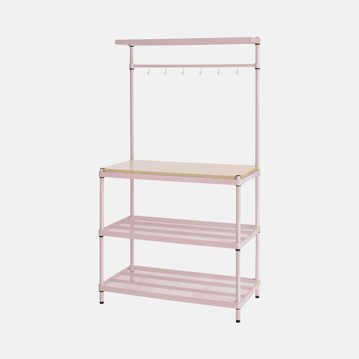 extra sturdy storage unit with shelving and hooks - pink | storage