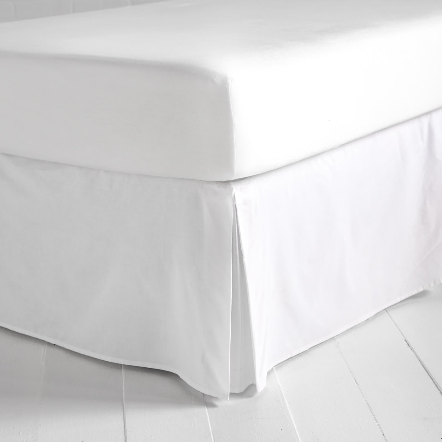 Twin bed top view - Simple White Bedskirt