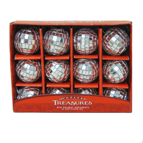 Petite Treasure Mirrored Disco Ball Glass Ornament 12p Set