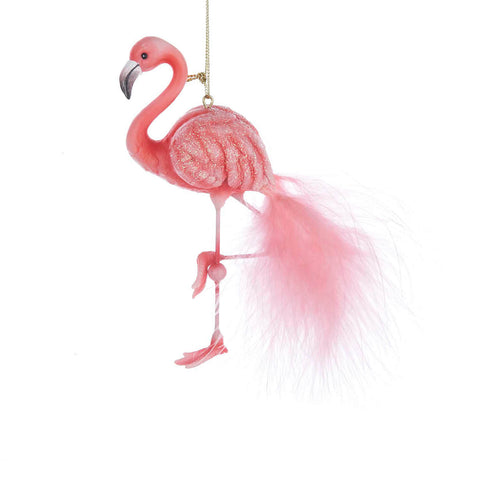 Pink Glitter Pink Tail Feathered Flamingo Ornament