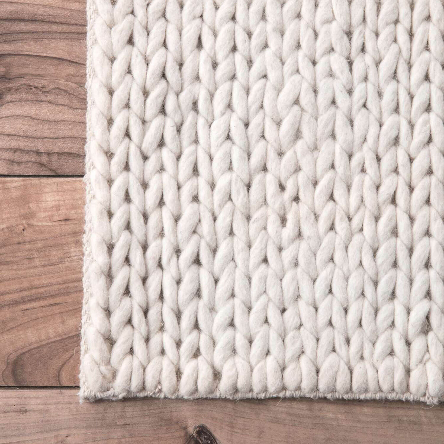 Cream Chunky Cable Area Rug - 2' 6