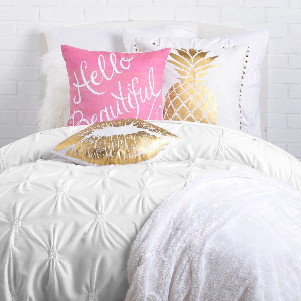 Hello Beautiful Decorative Pillow : Hello Beautiful Script Pillow by Timree Gold? Dormify