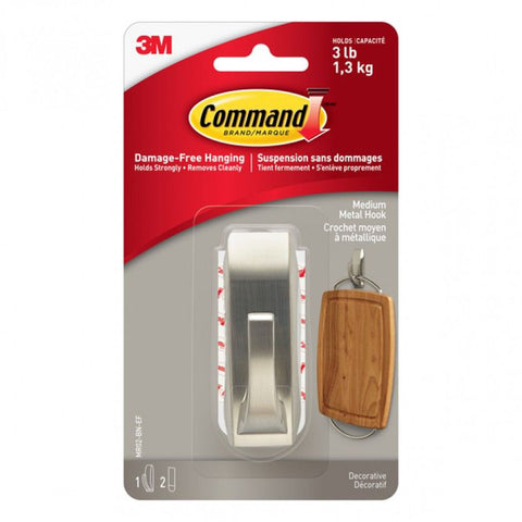 Command™ Modern Reflections Brushed Nickel Metal Hook - Medium