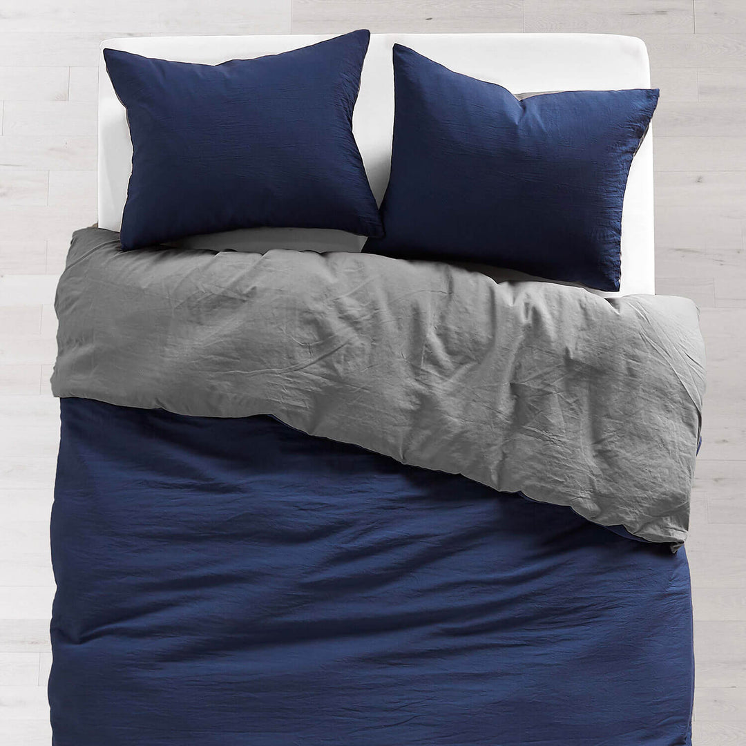 Navy Dark Grey Soft Wash Reversible Duvet Cover And Sham