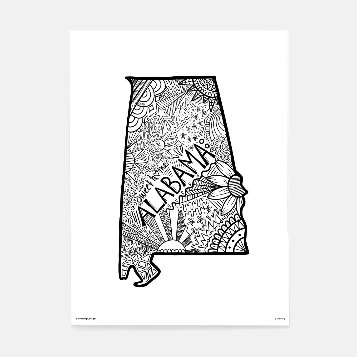 alabama state pride poster by corey paige - white 16x20 | wall