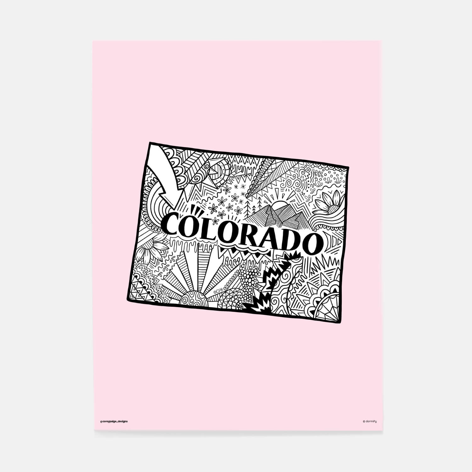 colorado state pride poster by corey paige - light pink 16x20 | wall