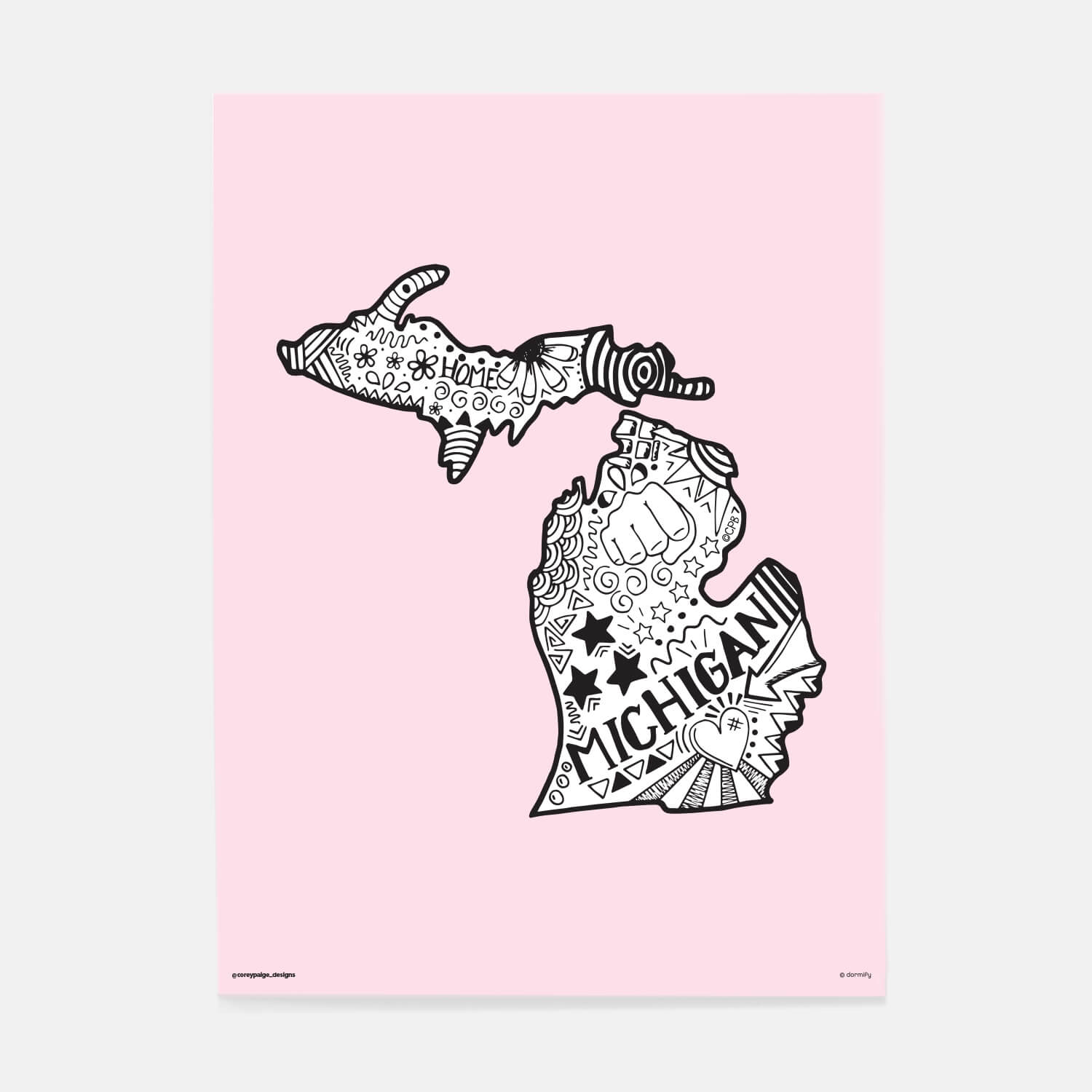 michigan state pride poster by corey paige - light pink 16x20 | wall