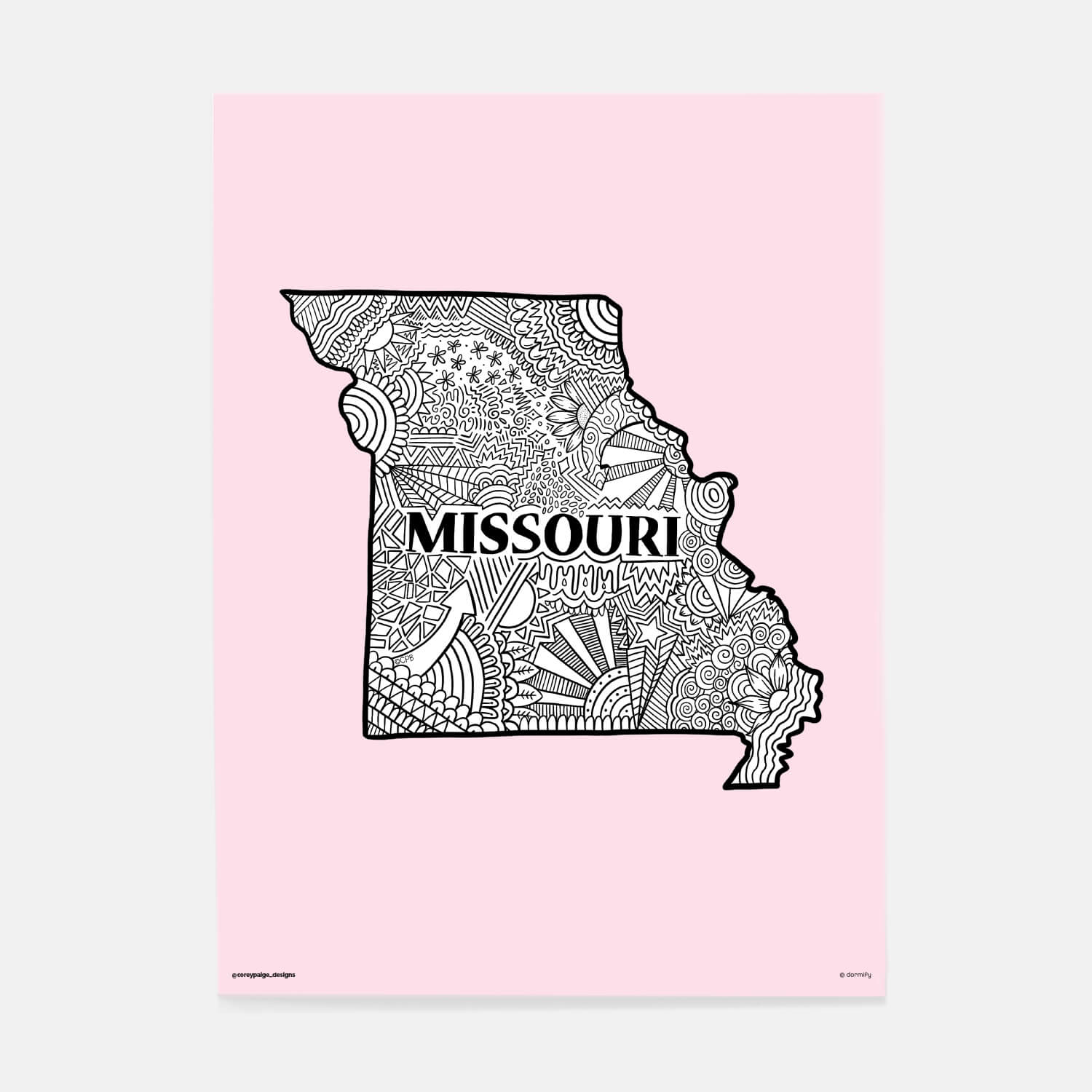 missouri state pride poster by corey paige - light pink 16x20 | wall