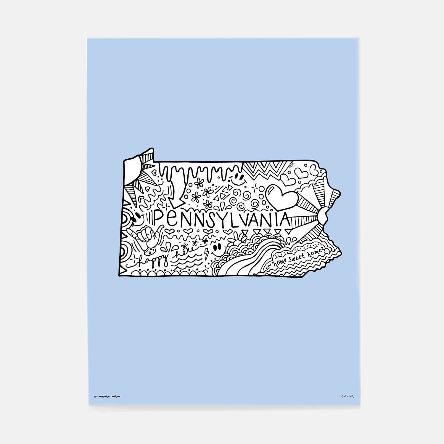 pennsylvania state pride poster by corey paige - light blue 16x20 | wall