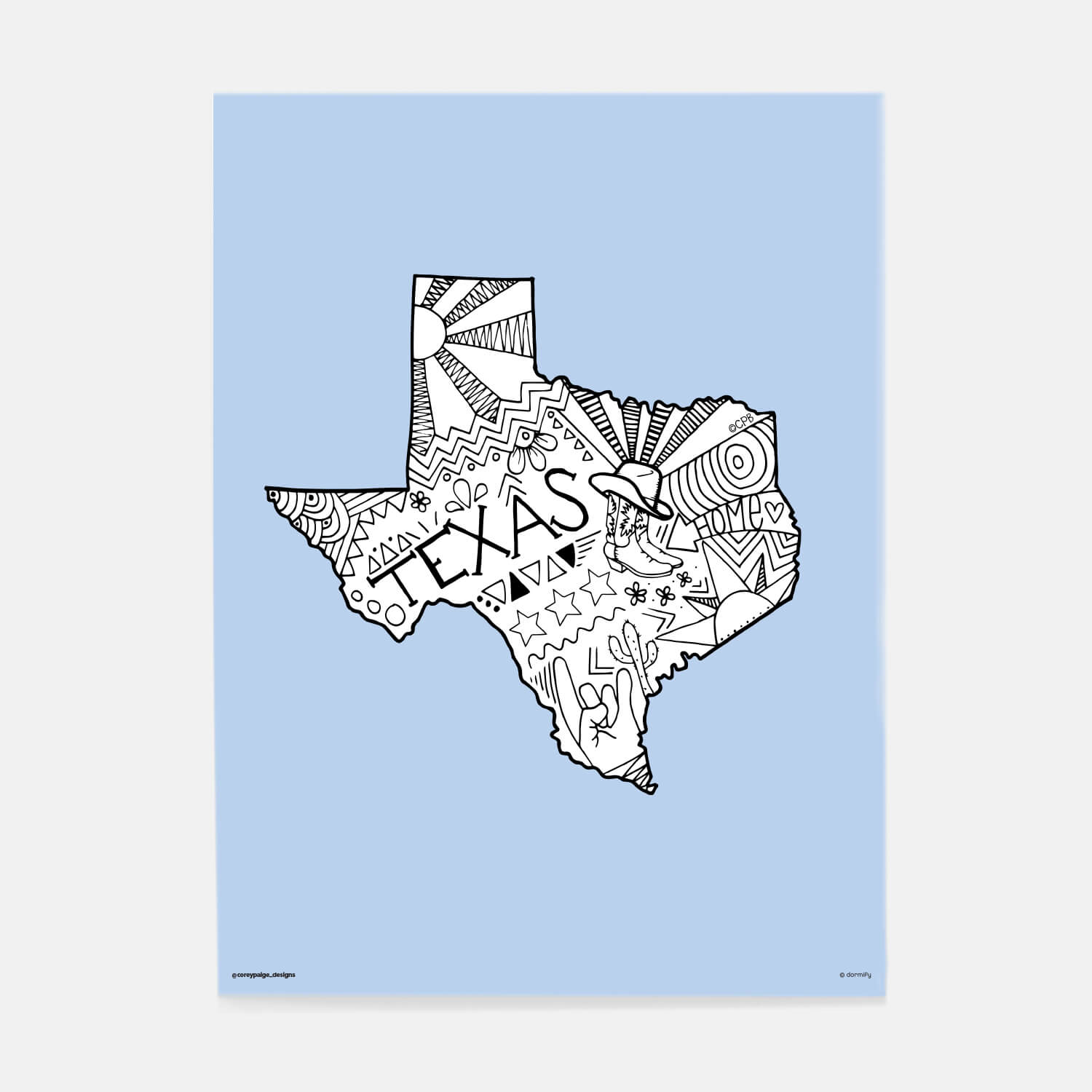 texas state pride poster by corey paige - light blue 16x20 | wall