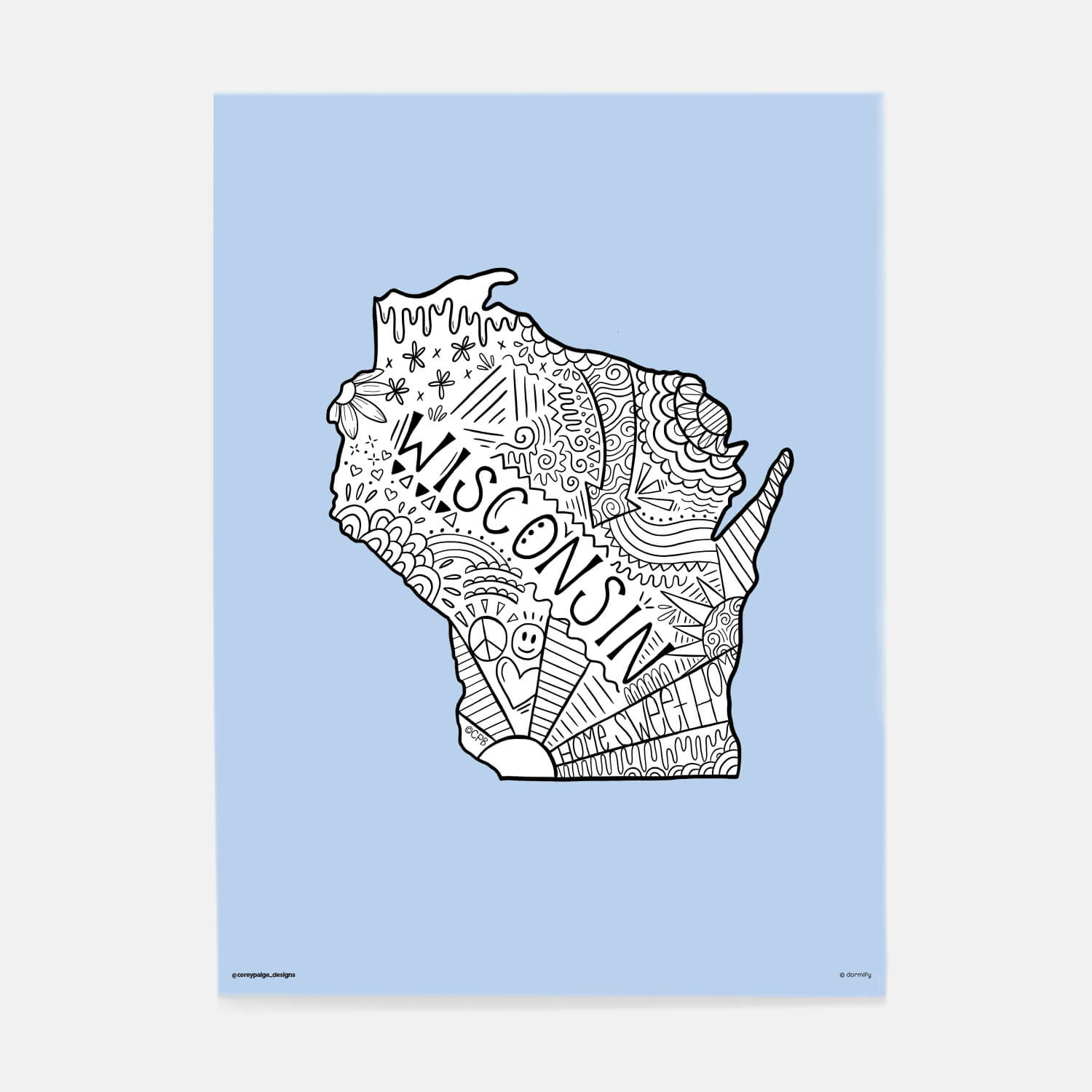 wisconsin state pride poster by corey paige - light blue 16x20 | wall