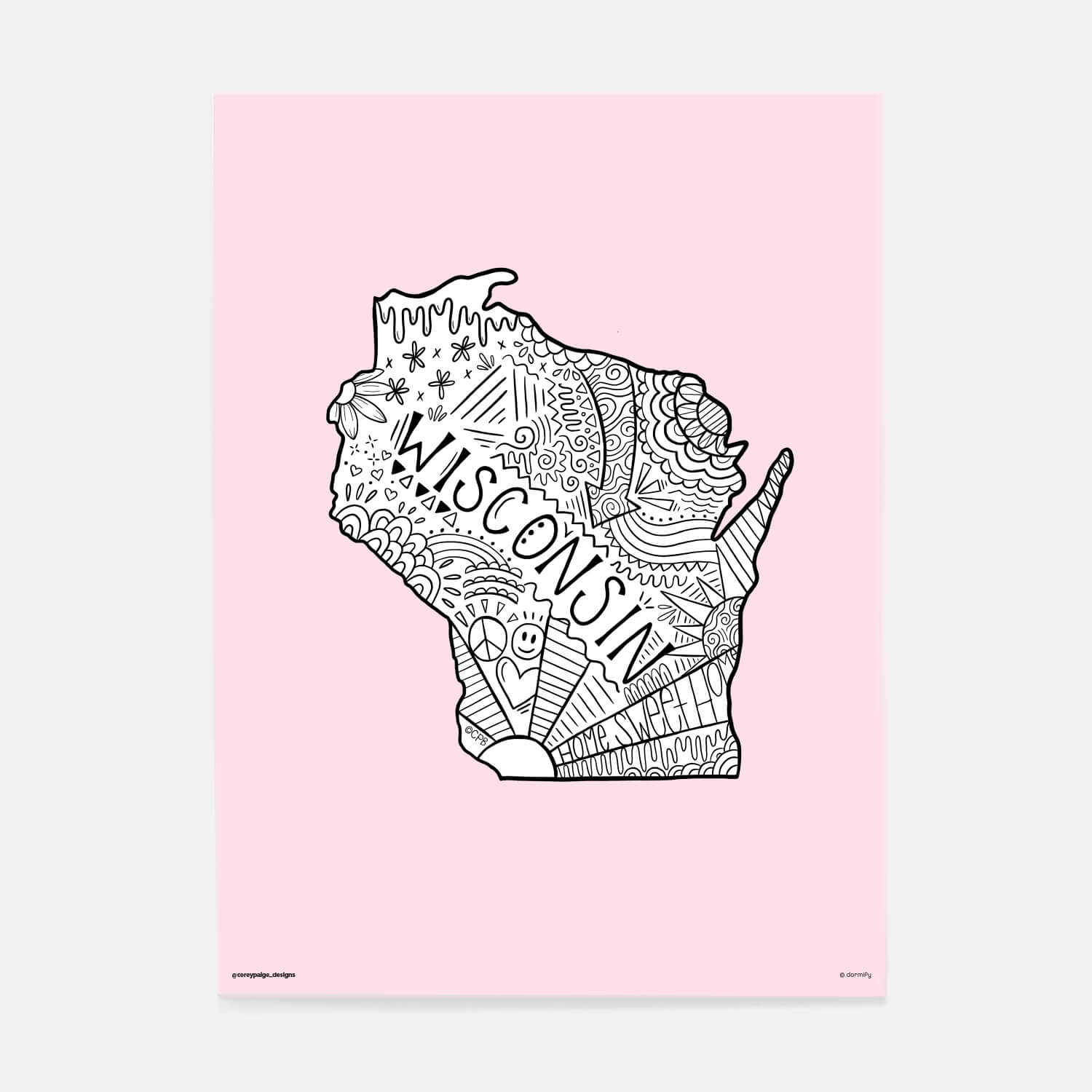 wisconsin state pride poster by corey paige - light pink 16x20 | wall