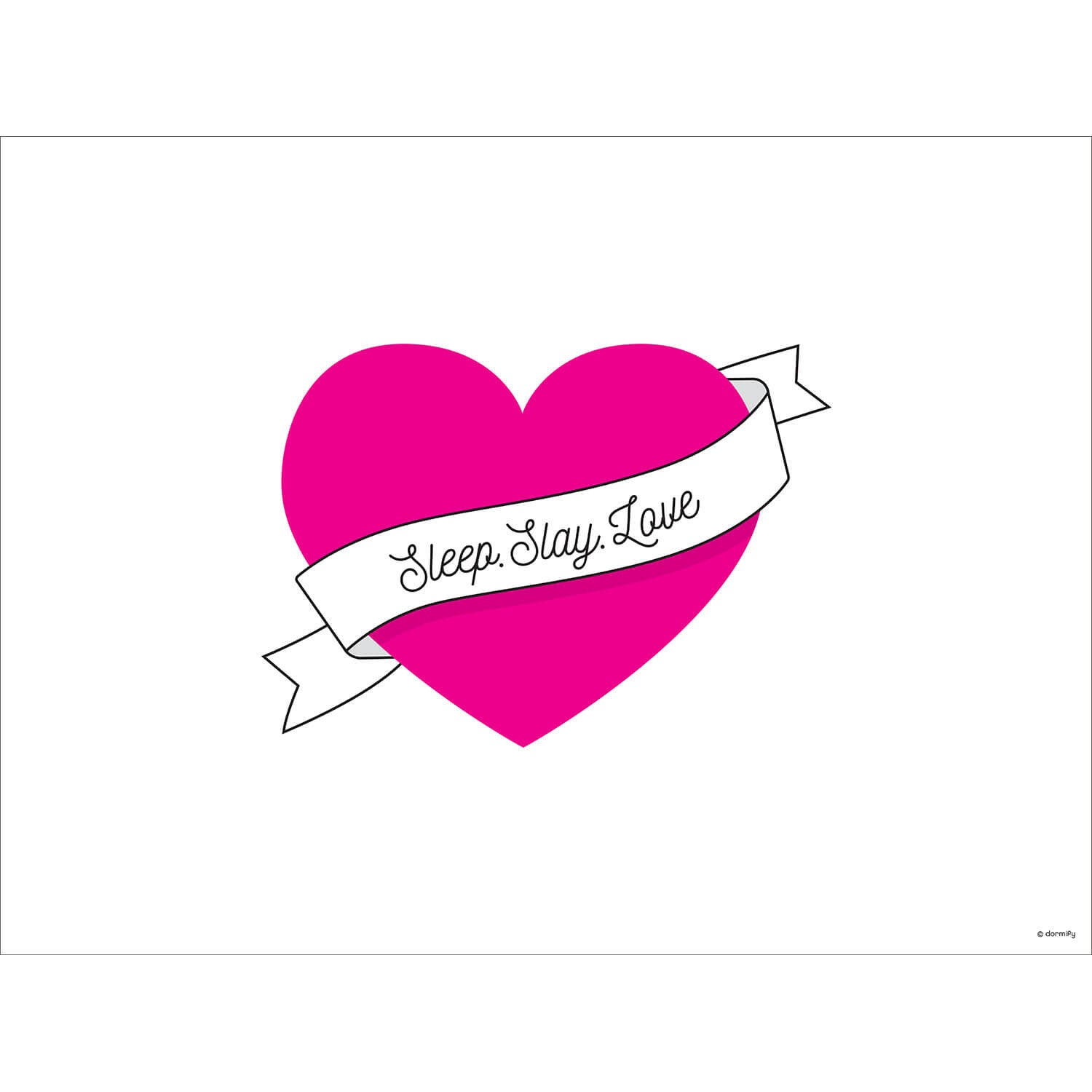 Sleep Slay Love Print - Pink 9x12