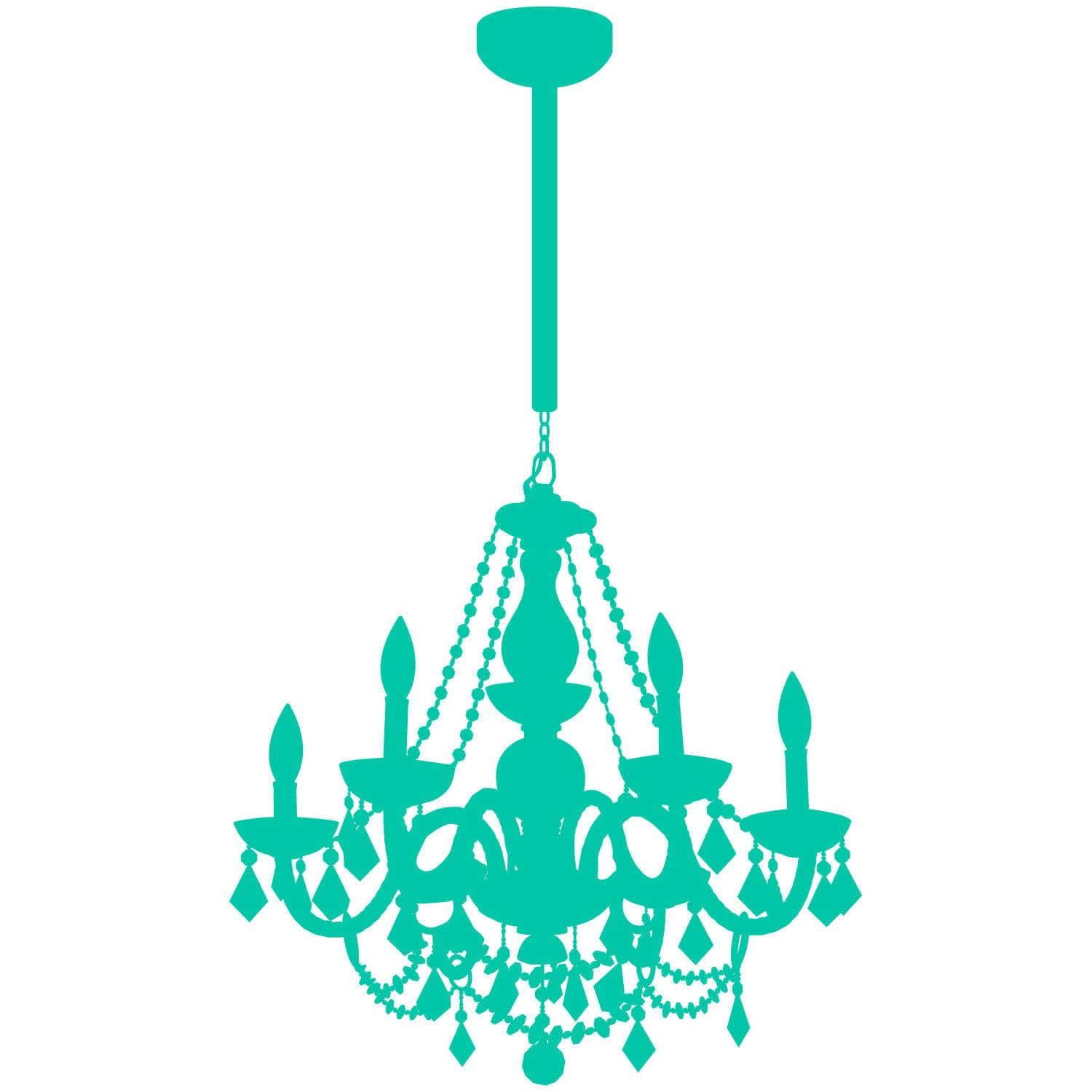 Chain Chandelier Decal - Turquoise