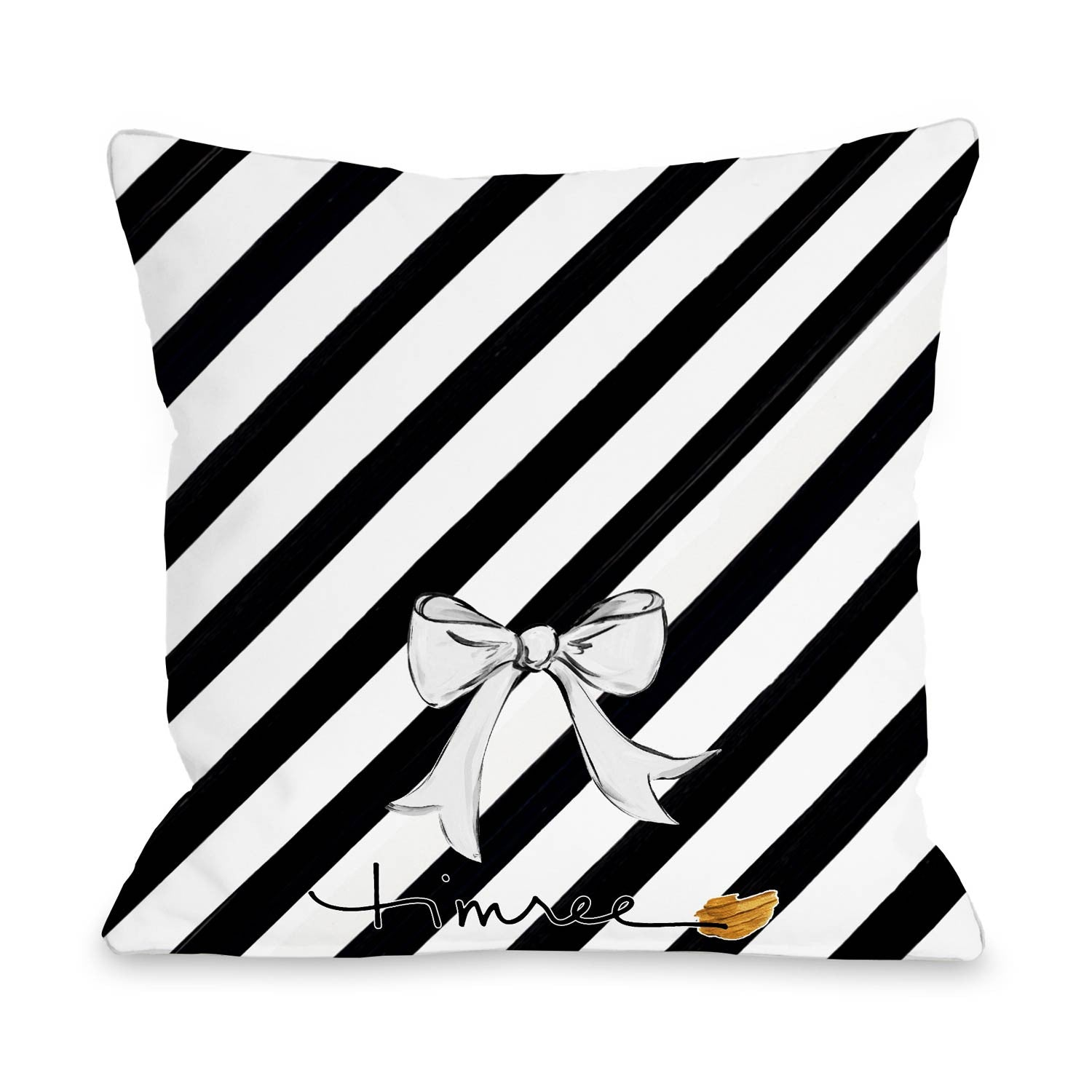 Hello Beautiful/Stripes Reversible Pillow by Timree Gold