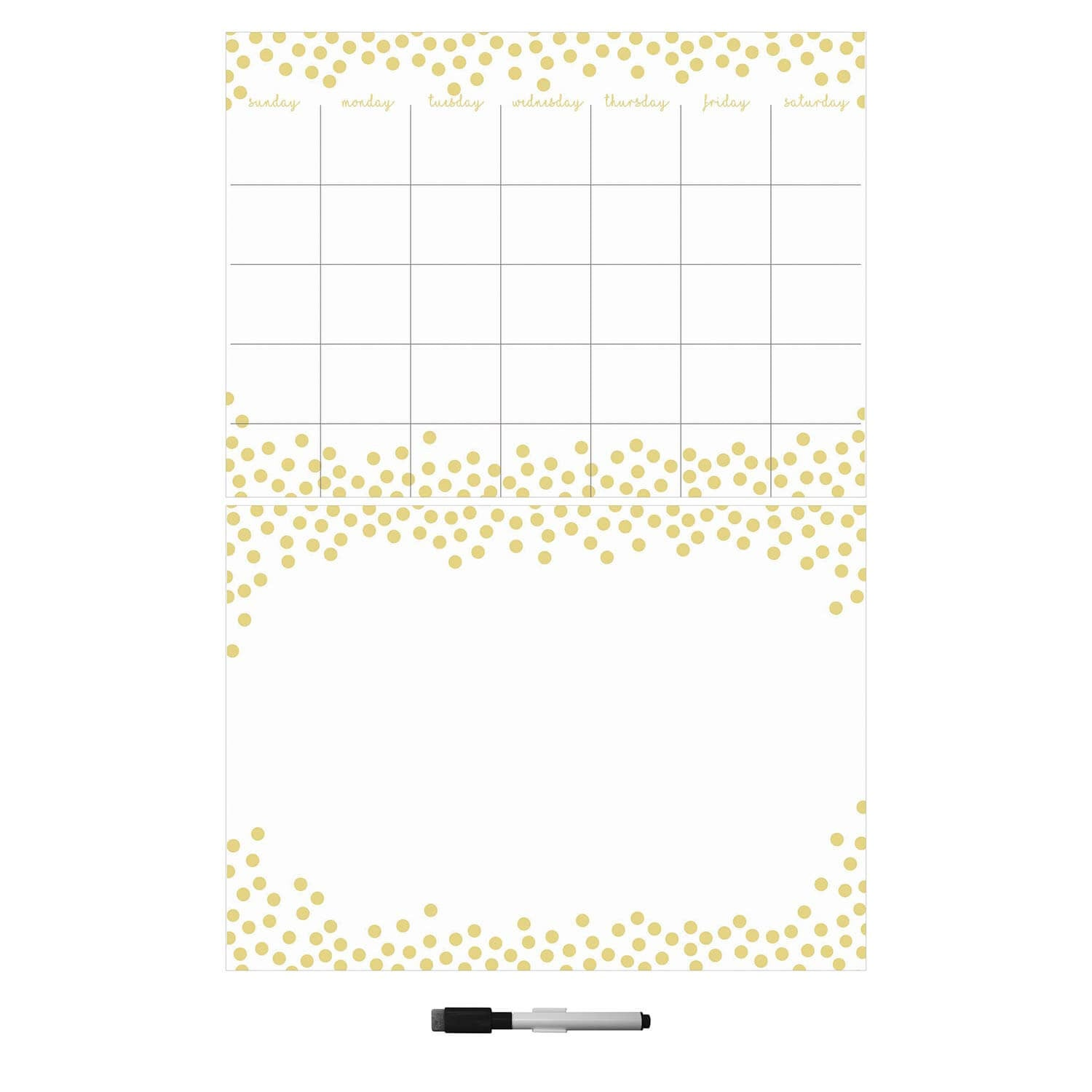 Gold Confetti Calendar and Dry Erase Board Set